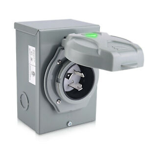 30 Amp 250V Generator Power Inlet Box NEMA L5-30P 3 Prong Generator Cord 3750W