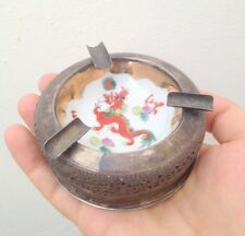 Ashtray silver 900 vintage with porcelain bowl vietnam ashtrays with red dragon