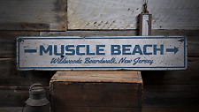 Muscle Beach, Custom for Beach Lover - Rustic Distressed Wood Sign