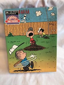 Peanuts Charlie Brown 100 Piece Puzzle Snoopy Baseball Golden Vintage Complete