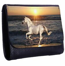 White Horse At The Beach Tri-Fold Wallet w/ Button Pocket