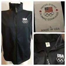 "USA Olympic Committe Warm Up Jacket TEAM USA OLYMPICS Full Zip sz L 44"" Black 👍"