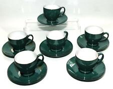 Denby Pottery Greenwich Pattern Coffee Set 6 Cups and Saucers made in Stoneware