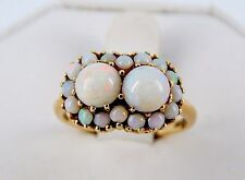 Antique 10k 1.5 Carat Opal Cluster Ring Size 7 1/2 Unusual Double Center Stones