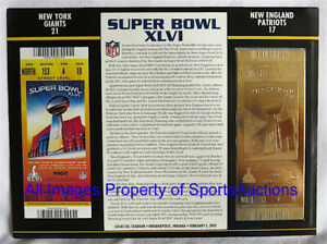 SUPER BOWL 46  NEW YORK GIANTS Patriots 22KT GOLD TICKET Willabee & Ward SB XLVI