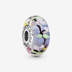 🌹Pandora Garden Scene Murano Glass Charm ALE SILVER S925