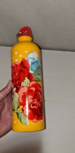 The Pioneer Woman Stainless Steel Water Bottle Yellow w/Blue Red Floral 25 oz