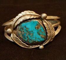 Large Turquoise & Sterling Silver Leaf Cuff 3 Prong Bangle Navajo