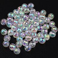 100 CLEAR 'AB' RAINBOW LUSTRE FACETED ROUND ACRYLIC BEADS 8mm TOP QUALITY ACR98