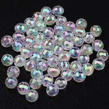 100 Clear 'ab' Lustre Faceted Round Acrylic Beads 8mm Top Quality Acr98
