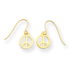 14K Yellow Gold Peace Sign Dangle Earrings Kidney Wire Madi K Children's Jewelry
