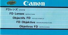 CANON - FD Lenses Objektive - Bedienungsanleitung Instructions - B3370
