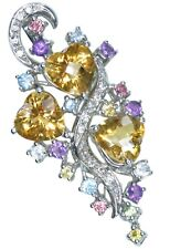 Citrine Heart Gemstone Cluster Sterling Silver Pendant + Chain