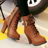 Women's Ankle Boots Platform High Heels Round Toe Lace Up Shoes Side Zip Shoes
