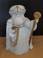 "Ceramic Bisque Santa St. Nicholas Renaissance Period Clothing 14"" Handpainted"