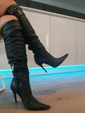 High Heel Stiletto Leder Stiefel Lorenzi Style Boots Mega Spitze Gr 37