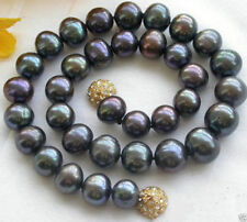 "Freshwater Pearl Necklace 18""Aaa+ Natural 8-9Mm Black Akoya"