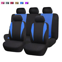 11pcs universal Car Seat Covers Blue Polyester Washable  Airbag Compatiable