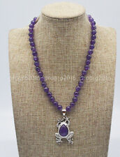 8/10mm Natural Purple Amethyst Round Gemstone Bead Frog Pendant Necklace 16-30''