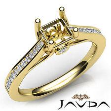 Channel Setting Asscher Diamond Engagement 14k Yellow Gold Semi Mount Ring 0.3Ct