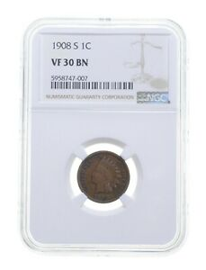 VF30 BN 1908-S Indian Head Cent - Graded NGC *4808