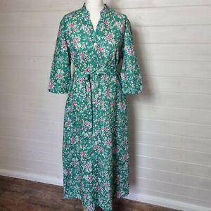 CC Green Floral Long Maxi Dress (UK Size 14) Linen Belted Waist Pockets