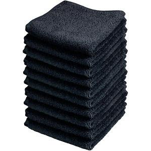 Microfaser Gesichtstücher 10 Stk. Vorratspack, 30 x 30 cm Schwarz, Abschminken,