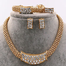 UK New Women Rhinestone Pendent Necklace Earrings Bracelet Ring Jewelry Set Gift