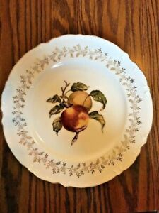 """10"""" Decorative Plate """"Apples"""" Fruit. White With Gold Accents Scalloped Edges."""