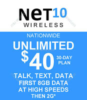 Net 10 preloaded SERVICE with $40.00 plan (8GB DATA, BRING YOUR OWN SIM)