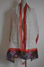 NWT NALINI Linen Silk Large Wide Long Scarf Shawl Wrap Aztec Tribal Boho Hippie