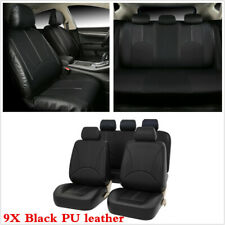 Black PU Leather Car Seat Covers Protectors Full set For Interior Accessories