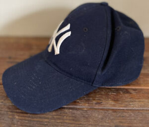VTG New York Yankees Wool Blue Ruth Gehrig Jeter Baseball Fitted Hat Cap 7 1/8