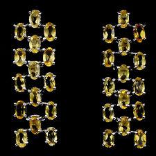 925 Sterling Silber Ohrstecker, 37x12mm., Vergoldet, 30 Stk. 5x3 mm. Citrin, Neu