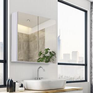 HOMCOM Bathroom Cabinet Double Door Wall Mounted Mirror Stainless Steel