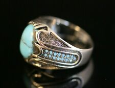 925 Sterling Silver Handmade Authentic Turkish Turquoise Men's Ring Size 9-13