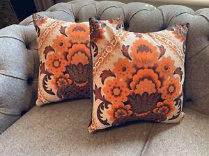 Handmade Retro Cushion Cover Vintage 60s Mid Century Fabric Orange X1