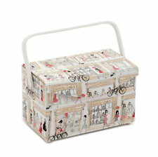 PARIS SEWING BOX Large Basket Fold Over Style UNIQUE Sewing Box Accessories Pack
