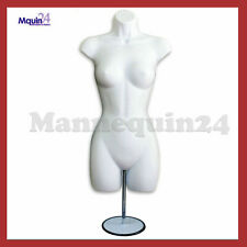 White Mannequin Female Torso Dress Form w/ Metal Stand & Hook for Hanging