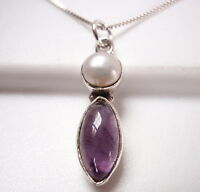 Cultured Pearl and Amethyst Marquise 925 Sterling Silver Pendant Corona Sun