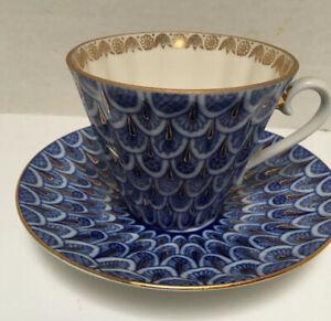 Lomonosov Imperial Porcelain LFZ Blue Tea Cup And Saucer.
