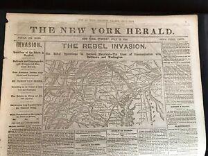 Original Civil War Newspaper The New York Herald July 12, 1864    Lg. Map