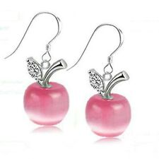 Pink Apple shaped women earrings orecchini donna mela cristallo sintetico #OD11