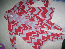 Vanilla Bay Large Red Grey Chevron Stripe Crochet Knit Cardigan Sweater Fall