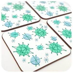 Atomic Starburst Coasters set of 4, 1950's retro coasters, Atomic Era gift, MCM
