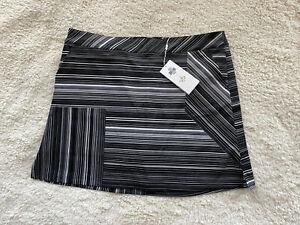 NWT LADY HAGEN Women's Size 14 Missy Empower Striped Skort Golf Black/White