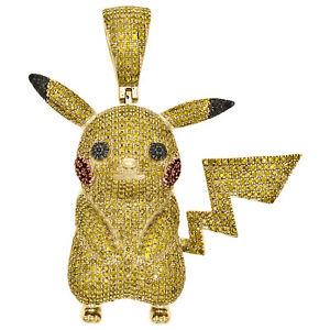 """10K Yellow Gold Canary Yellow Diamond Pikachu Pendant 1.75"""" Pave Charm 1.94 CT."""