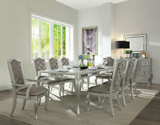 Modern Design 9pcs Dining Room Furniture Silver Finish Table & Chairs Set Iace