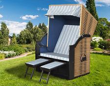 Strandkorb DEVRIES Trend 10 Natur Design mit Klapptisch 120x80x160cm Gartenmöbel