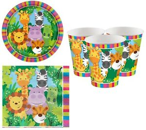 Boys Girls Animal Friends Birthday Celebration Party Paper 36pc Tableware Set